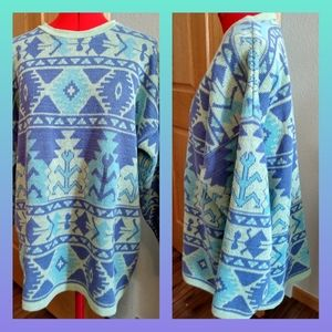 Vtg Aztec sweater XL pastel pullover USA